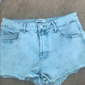 Teal Washed Jean Shorts